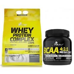 Olimp Whey Protein Complex 100% 2270g + BCAA 4:1:1 Mega Caps 300 kap.